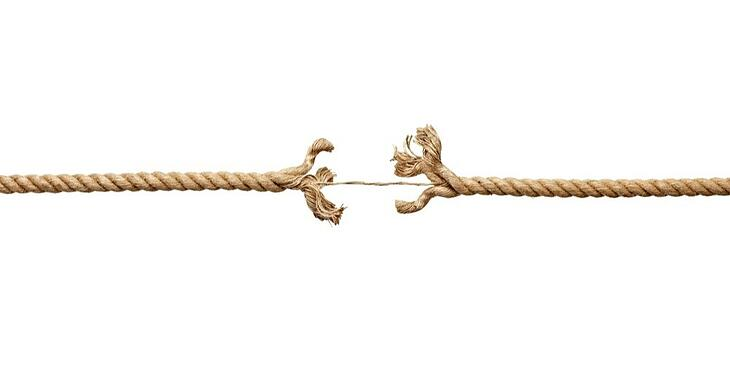 close up  of a damaged rope on white background with clipping path-1